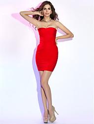 Mantel / Spalte strapless kurz / Mini sexy Bandage-Dress