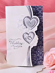 """Dreifach gefaltet Hochzeits-Einladungen 50-Einladungskarten Herz Stil Perlen-Papier 7 1/2 """"×6 1/4"""" (19*13.5cm)"""
