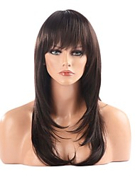 Capless High Quality Synthetic Brownish Black Straight Hair Wig