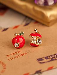South Korean small jewelry wholesale fashion cute red enamel drop earrings asymmetric apple(random color)