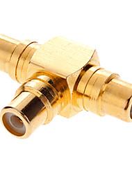 RCA Adaptador AV 3xFemale T-Tipo bañados en oro