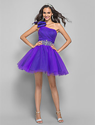 A-Line Princess One Shoulder Short / Mini Tulle Cocktail Party Homecoming Prom Dress with Crystal by TS Couture®