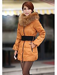 Damen Mantel mit Pelz-Kragen & Gürtel