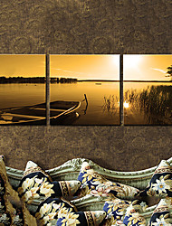Stretched Canvas Art Landscape Boat at Dusk Set of 3