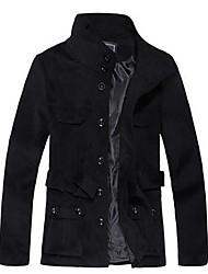VALS degli uomini del collare del basamento del cappotto di lana nero