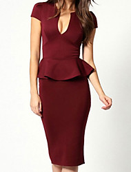 Women's Sexy Dress,Solid Knee-length Short Sleeve Red Polyester Summer