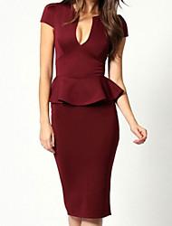 V-образным вырезом женщин Благородный пеплум Midi платье