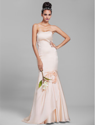 Floor-length Chiffon Bridesmaid Dress - Champagne Petite Trumpet/Mermaid Strapless