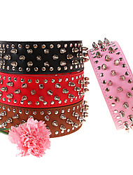 Adjustable 3-Roll Rivets Studded Spike Genuine Leather Collar for Pets Dogs (Assorted Colors, Sizes)