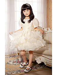 Ball Gown / Princess Short / Mini Flower Girl Dress - Satin / Tulle Short Sleeve Jewel with Flower(s) / Sequins