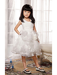 Ball Gown / Princess Knee-length Flower Girl Dress - Satin / Tulle Sleeveless Scoop with Appliques