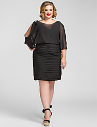 TS Couture® Cocktail Party / Holiday Dress - Black Plus Sizes / Petite Sheath/Column V-neck Knee-length Chiffon