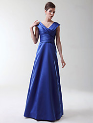 Floor-length Stretch Satin Bridesmaid Dress - Royal Blue Plus Sizes / Petite A-line / Princess V-neck