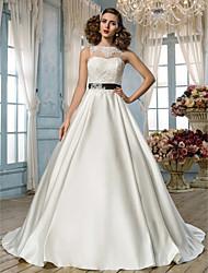 LAN TING BRIDE Trapèze Princesse Robe de mariée - Classique & Intemporel Elégant & Luxueux Dos ouvert Longueur Sol Bijoux Dentelle Satin