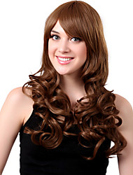 Capless Long Synthetic Brown Curly Hair Wig Side Bang