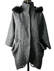 KICAI Hoodie Cape Tweed Mantel