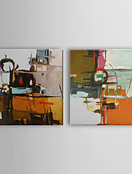 Hand Painted Oil Painting Abstract Patching with Stretched Frame Set of 2 1310-AB1209