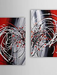 Handgemaltes Ölgemälde Abstrakt Circular mit gestrecktem Frame Set von 2 1311-AB1134