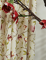 TWOPAGES® (Two Panels) Country Flower on Stem Print Eco friendly Curtain