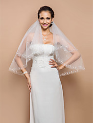 Fashion Two-tier Fingertip Wedding Veil With Beaded Edge And Sequins & Pearls