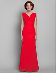 Lanting Bride® Sheath / Column Plus Size / Petite Mother of the Bride Dress Floor-length Sleeveless Chiffon with Side Draping