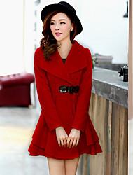 Lächeln Frau Frauen Red Fleece Medium Tweed Coat