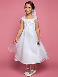 A-line Tea-length Flower Girl Dress - Organza Square with Appliques Beading Pearl Detailing