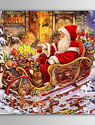 Christmas Painting Santa Claus with Kids Holiday Gift Oil Painting on Canvas Ready to Hang