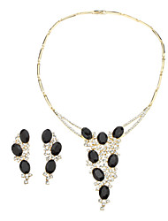 Elegante ovale di cristallo Necklace & Earrings Jewelry Set