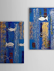 Hand Painted Oil Painting Abstract Fish with Stretched Frame Set of 2 1310-AB1211