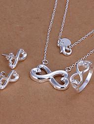 symboles infinis ensemble de bijoux argent