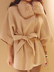 Kleur Party lange mouwen Tweed Mantel