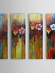 Hand Painted Oil Painting Floral Colorful Flowers with Stretched Frame Set of 4 1310-Fl1233