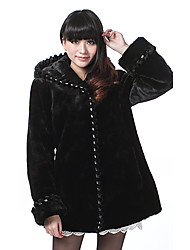 Pretty Long Sleeve Hooded Faux Fur Party/Casual Coat