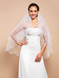 Elegant Two-tier Fingertip Wedding Veil With Beaded Edge And Pearls