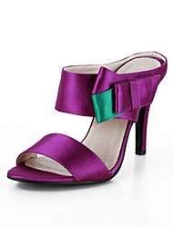 Women's Spring / Summer Slide Satin / Stretch Satin Wedding Stiletto Heel Bowknot Pink / Purple / Red / Ivory / White