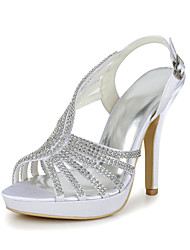 Satin Wedding Occasion Stiletto Heel Pumps & Platform Heels & Sandals With Rhinestone & Chain(More Colors)