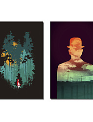 Stretched Canvas Art Abstract Wolf and Lonely Person by Budi Satria Kwan Set of 2