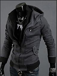 QN Men's Dark Gray  Hoodie Contrast Color Fashion Shirt