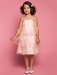 Sheath / Column Tea-length Flower Girl Dress - Tulle Jewel with Ruffles Pleats