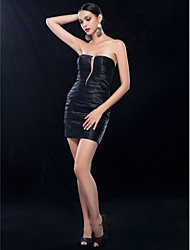 Sheath/Column Strapless Short/Mini Charmeuse Cocktail Dress (466872)