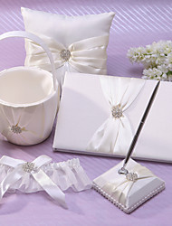5 Collection Set White / Ivory Flower Basket / Garter / Guest Book / Pen Set / Ring Pillow