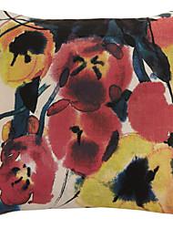 chinese lavagem pintura floral poliéster fronha decorativo