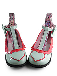 Heart Pattern Handmade Green PU Leather Low Heel Sweet Lolita Shoes