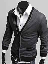Men's V Neck Contrast Color Buckle Sweaters Coat