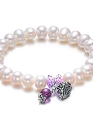 Naturel Perle 6Mm bracelet élastique Améthyste LuckyPearl femmes PB0032WL24286