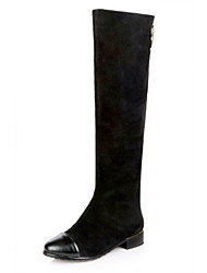 Leather Low Heel Knee High Boots With Zipper