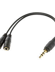 3.5mm mâle à 2 Homme Audio Cable Black (0,1 M)