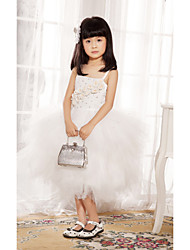 Ball Gown/Princess Tea-length Flower Girl Dress - Satin/Tulle Sleeveless