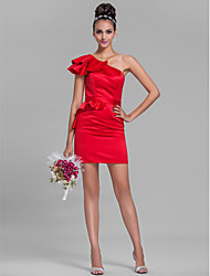 Sheath / Column One Shoulder Short / Mini Satin Bridesmaid Dress with Sash / Ribbon Ruffles by LAN TING BRIDE®